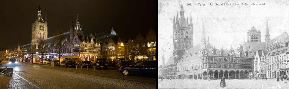 Ypres 2014 and in postcard bought by Lt Pat Somerville in 1914